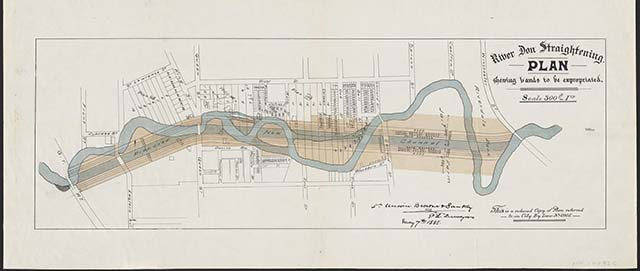 A map of the straightening of the Don River.