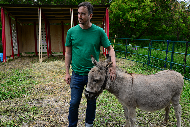 Artist Gareth Long pets a donkey in the Valley.