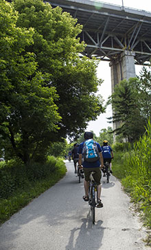 Cyclists bike the Lower Don Trail in the DRVP.