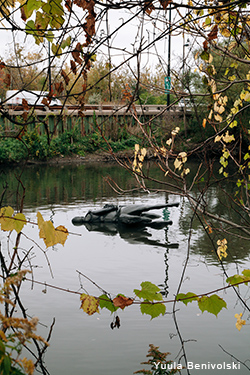 The sculpture floats in the Don River.