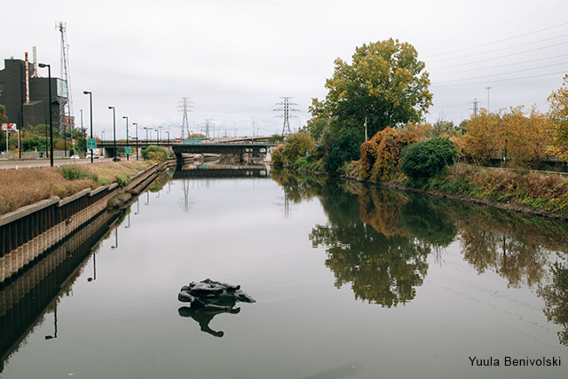 King Edward VII sculpture floats in the Don River as part of an art performance.