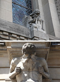 Sample examples of gargoyles that live on prominent Toronto buildings.